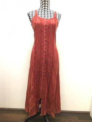 Langes Kleid rostbraun mit wunderschönen Stickereien und kleinen Knöpfen, Neu und ungetragen