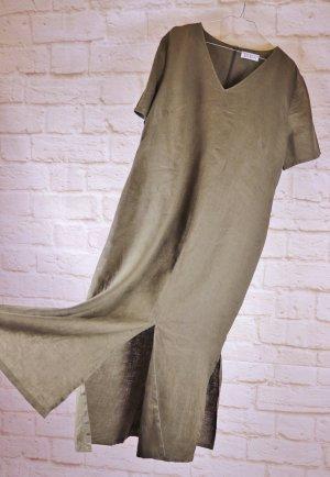 Langes Leinenkleid Sommerkleid Betty Barclay Größe 44 Khaki Grün Braun Leinen Kaftan Kleid Maxi Kurzarm