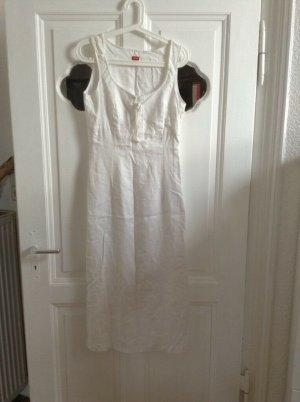 Langes Leinenkleid von Esprit Weiß Leinen Schnürung edel Sommer S