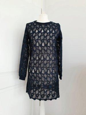 Langes Oberteil Kleid dunkelblau blau Spitze XS
