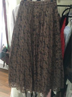 Falda de encaje marrón-negro-taupe