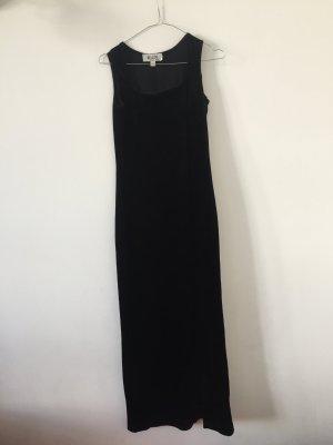 langes Samtkleid Abendkleid elegant eckiger Ausschnitt figurbetont Gr.34 schwarz