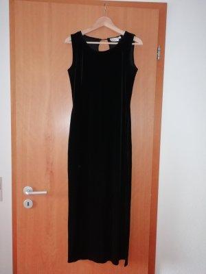 langes schwarzes Abendkleid Samt