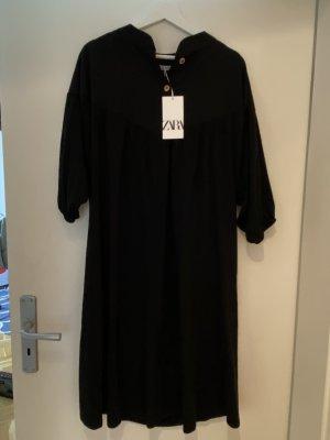 Zara Woman Sukienka tunika czarny-jasnobrązowy