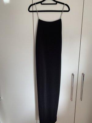 Langes schwarzes Kleid mit Glitzer Trägern
