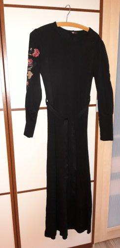 Langes schwarzes Wollkleid Gr S