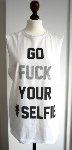 Langes Shirt in weiß mit Schriftzug und Glitzer aus LA , Neu & ungetragen
