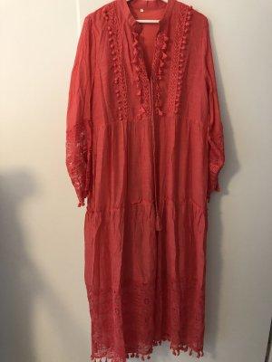 0039 Italy Sukienka maxi czerwony neonowy