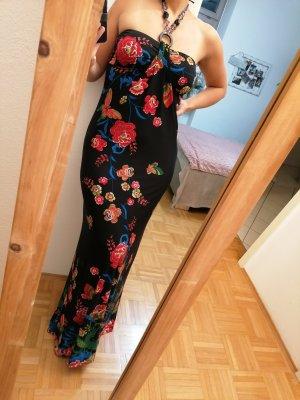 Langes Sommer Kleid schwarz florales Muster Größe S neuwertig