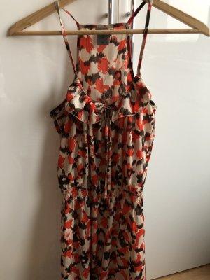 Langes Sommerkleid beige/braun/orange