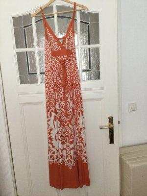 Langes Sommerkleid Gr. 38, orange weiß