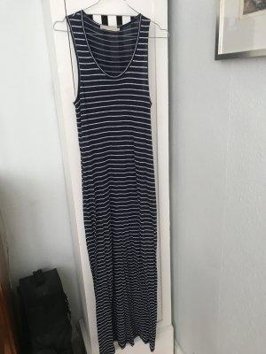 Langes Sommerkleid streifen blau weiß Maxi XS Stefanel