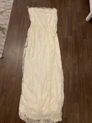 Mango Sukienka z dekoltem typu bandeau biały