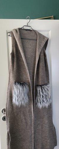 Refka Chaleco con capucha marrón grisáceo