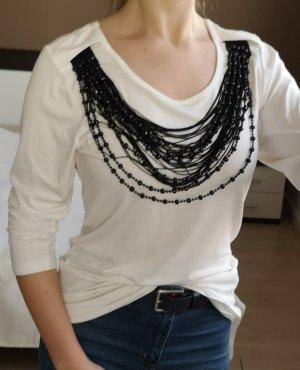 Langes Sweatshirt mit Kette weiß schwarz M