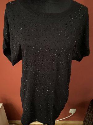 Langes t-Shirt mit schwarzen steinchen gr M