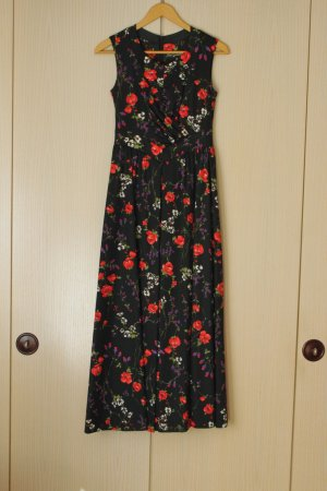 Langes Vintage-Abendkleid mit Blumenmuster