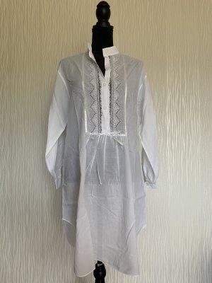 Langes weißes Vintage Tunika-Bluse / Kleid von Fürstenberg Gr. 38