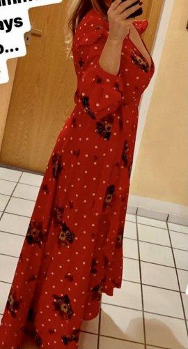 Boohoo Vestido cruzado rojo