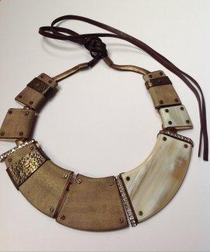 LANVIN  Gold-Ton Horn und Holz Kragen Halskette