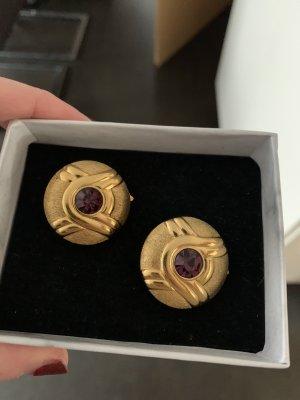 Lanvin Pendientes de clip color oro-rojo zarzamora