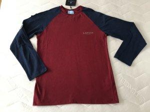 Lanvin Top à manches longues rouge carmin-bleu foncé coton