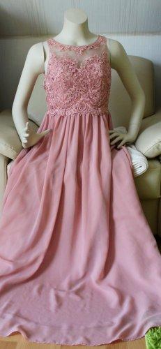 Laona Kleid 34 XS bodenlang bei ca 1,60 Tattoo Spitze rosa rose gereinigt