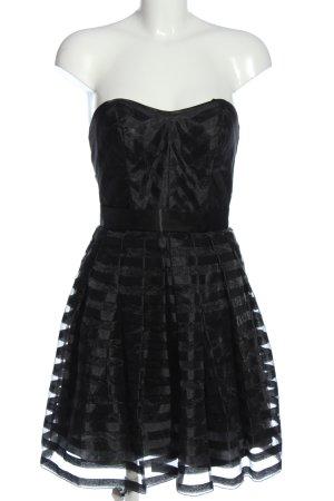 Laona schulterfreies Kleid schwarz Streifenmuster Elegant