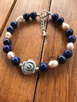 Armband met parels rosé-donkerblauw