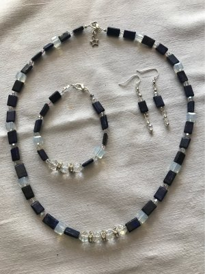 Lapislazuli /Bergkristall Collier mit Armband  & Ohrringe / Neu
