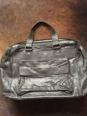 Laptop Tasche Leder dunkelgrau