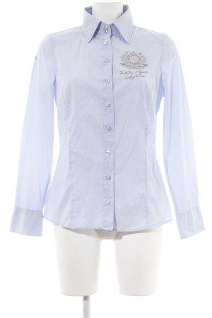 Largentina Camisa de manga larga azul-blanco estampado a rayas look casual