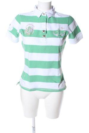 Largentina Polo-Shirt grün-weiß Schriftzug gestickt Casual-Look