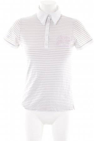 Largentina Polo Shirt white-beige embroidered lettering casual look