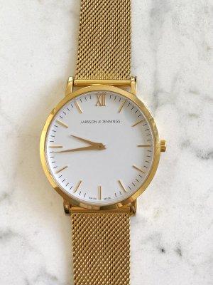 Larsson & Jennings Reloj con pulsera metálica blanco-color oro metal