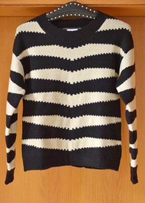 LASCANA 36/38 Schwarz Beige warmer Strickpulli Pullover Streifen Sixties neu