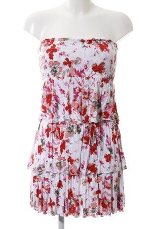 Lascana Robe bandeau blanc-rouge motif de fleur style décontracté