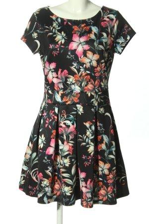 Lascana Kurzarmkleid schwarz-pink Allover-Druck Elegant