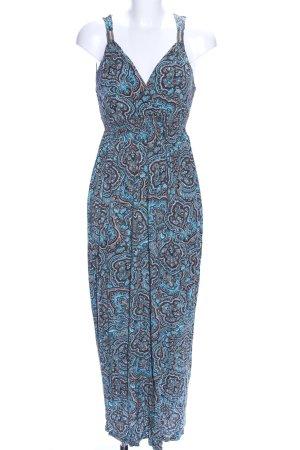Lascana Robe longue bleu-brun motif abstrait style décontracté