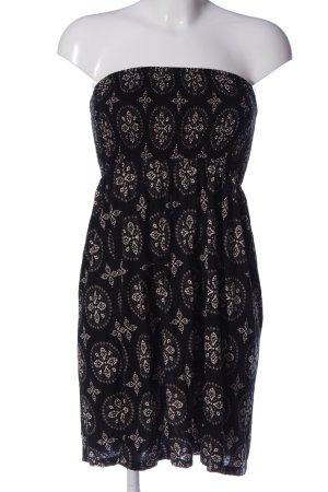 Lascana schulterfreies Kleid schwarz-wollweiß Allover-Druck Casual-Look