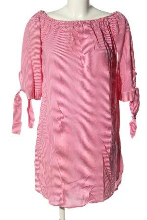 Lascana schulterfreies Kleid pink-weiß Streifenmuster Casual-Look