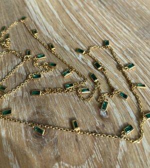 Latelita Kette grün Latelita Venedig Halskette mit Onyx Baguette Gelbgold Kette vergoldet 925 Silber Vergoldung