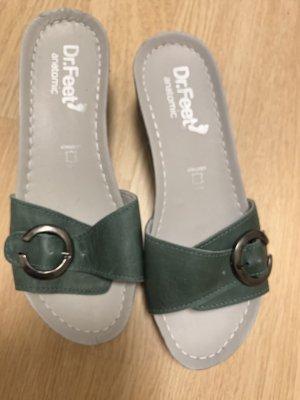 Dr. Feet Heel Pantolettes dark green