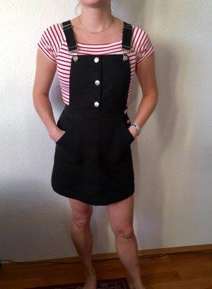 Latz Kleid aus schwarzem Jeansstoff