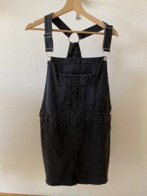 Latzkleid, dunkelgrau/schwarzer Jeansstoff