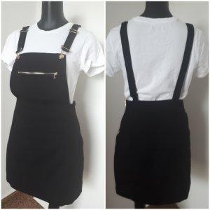 Fishbone Pinafore Overall Skirt black