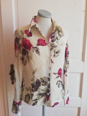 Laura Ashley Seidenbluse Langarm Gr. EUR 34 UK 8 XS Seide Bluse beige Rosen bordeaux