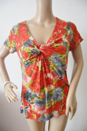 Laura Ashley Camisa con cuello V rojo