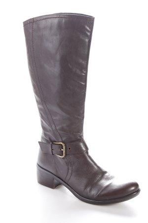 Absatz Stiefel braun-dunkelbraun Casual-Look Leder