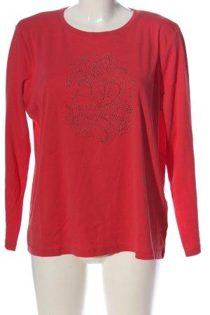 Laura di Sarpi Gebreid shirt rood-zwart grafisch patroon casual uitstraling